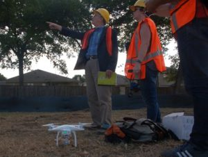 Mike and Ashley on site with the drone