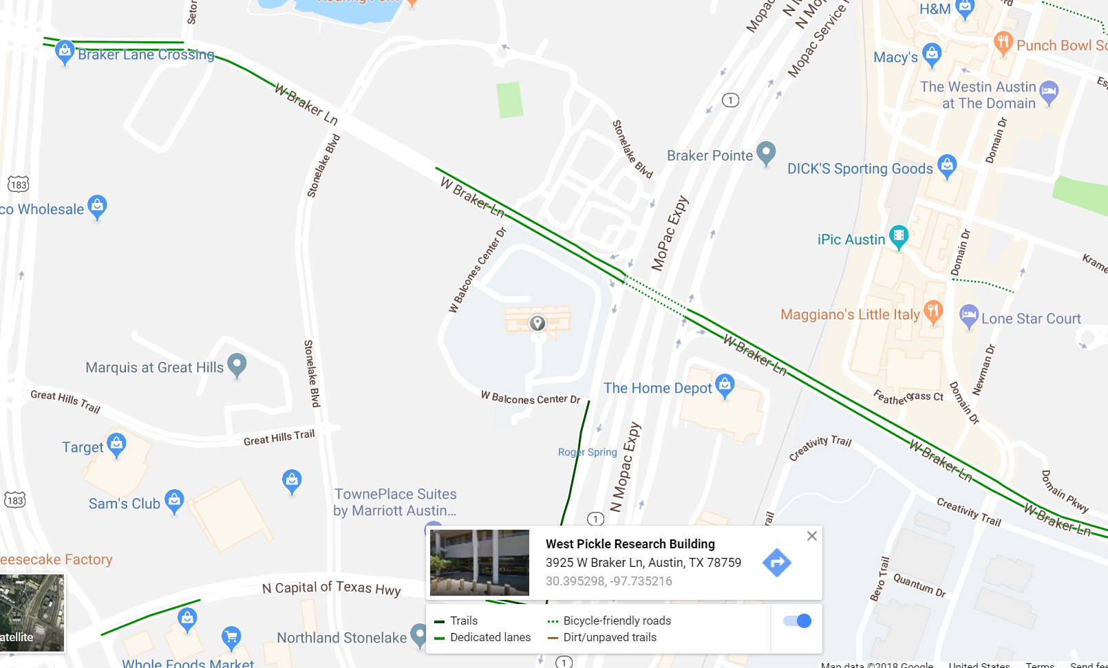 Google Map showing bicycle-friendly paths near the West Pickle Research Building
