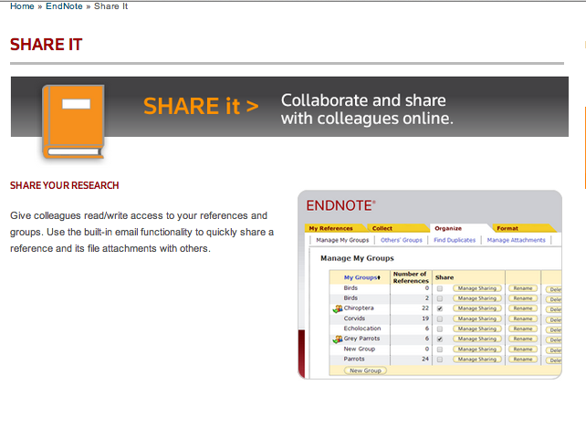 Screenshot of EndNote page