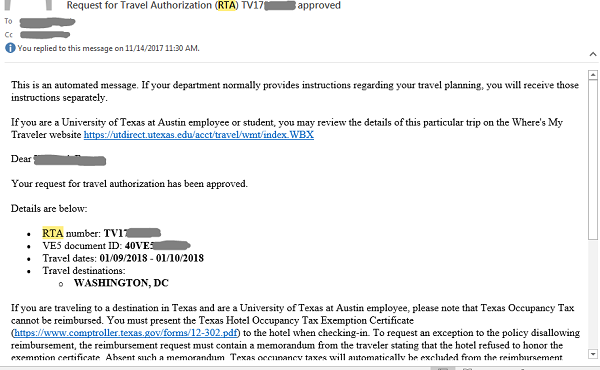 screenshot of a travel approval email