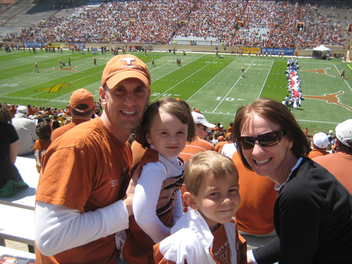 Tom Fowler with family at UT game