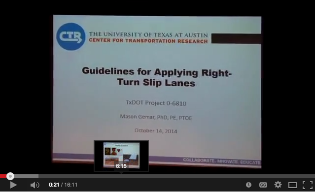 Dr. Gemar presents Guidelines For Applying Right-Turn Slip Lanes
