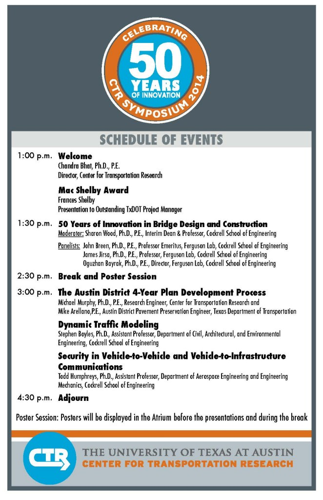 1 pm Welcome, Mac Shelby Award presentation to Outstanding TxDOT Project Manager; 1:30 p.m.  50 Years of Innovation in Bridge Design and Construction; 2:30 p.m. Break and Poster Session; 3 p.m. The Austin District 4-Year Plan Development Process; Dynamic Traffic Modeling; Security in Vehicle to Vehicle and Vehicle-to Infrastructure Communications; 4:30 Adjourn