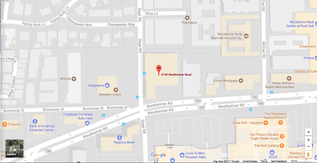 Map showing TMS 2.0 location at Westheimer and Sage Rd. intersection in Houston, Texas