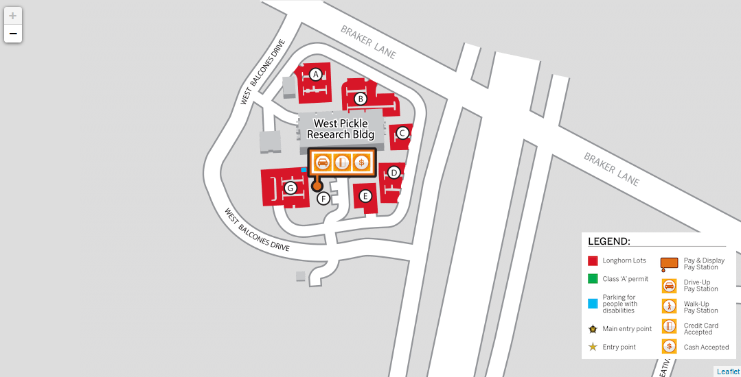 Parking Lot map for West Pickle Research building showing Lots A-G