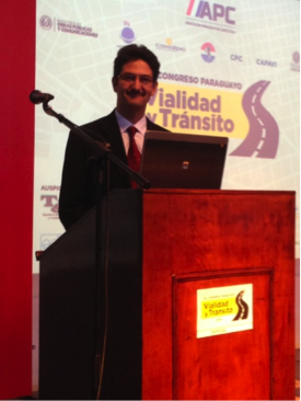 Photo of Dr. Yildirim presenting at Paraguay's First National Transportation Conference, October 2014
